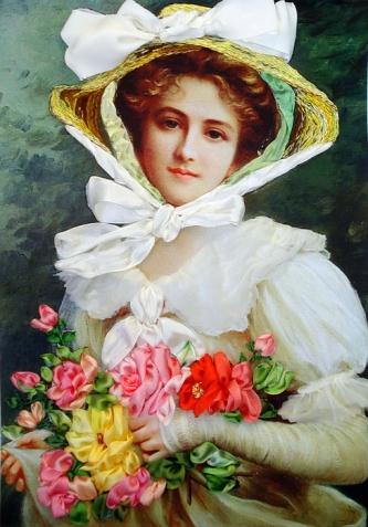 Элегантная леди с букетом роз. Моя вышивка лентами.