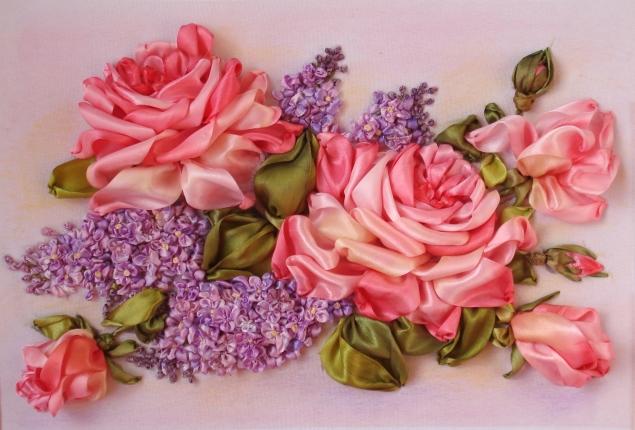 Вышивка Лентами Розы Схемы