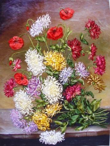 Хризантемы и маки. Вот такой букет!