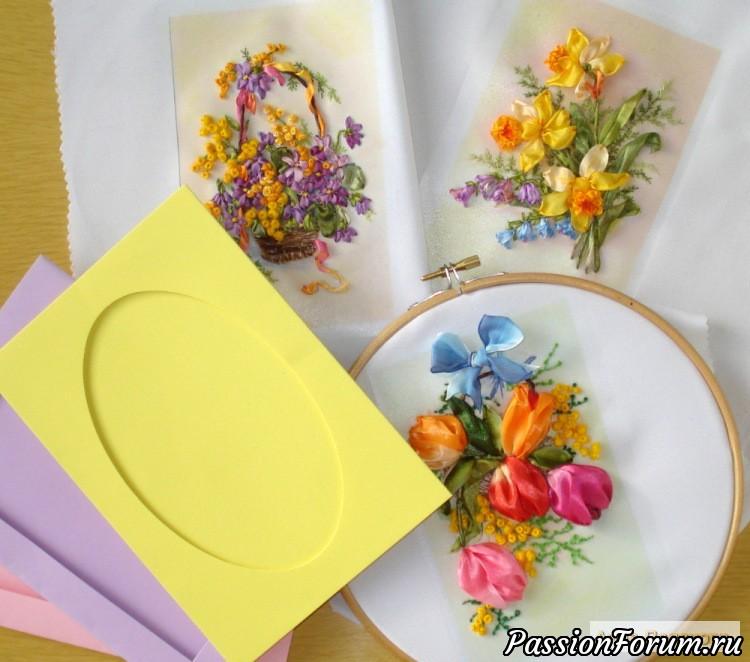 Цветочные открытки снежной зимой, открытка в подарок, открытки к празднику, вышивка лентами, подарок к 8 марта