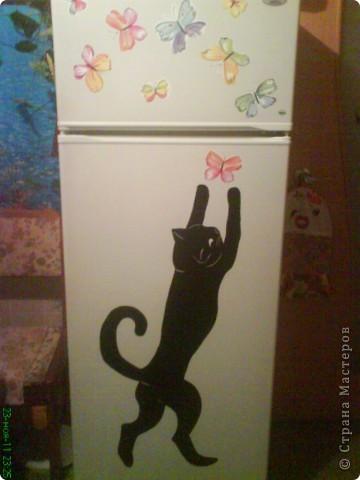 Трафарет кошки на холодильник