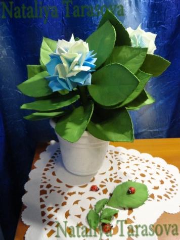 Гортензия...фоамиран., гортезия из фома, цветы