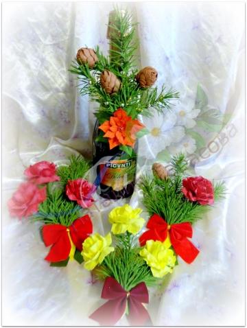 Новогодний декор бутылки шампанского.ФОАМИРАН,