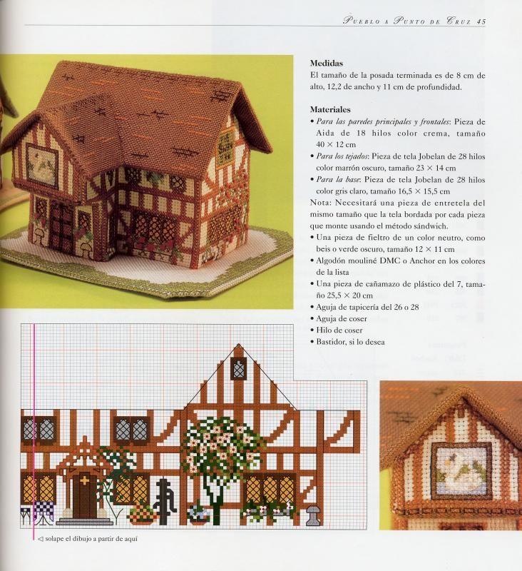 Вышивка объемные домики