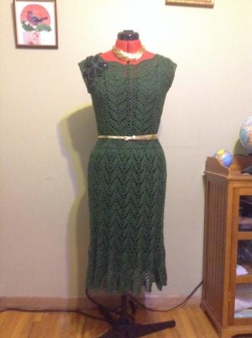 """Ажурное платье """"Зеленый калейдоскоп"""""""