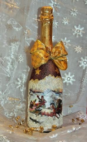 Мастер-класс «Новогоднее шампанское в технике декупаж».
