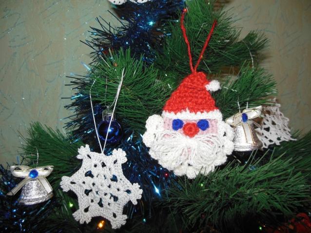 Новогоднее настроение, снежинки, ангелочки крючком