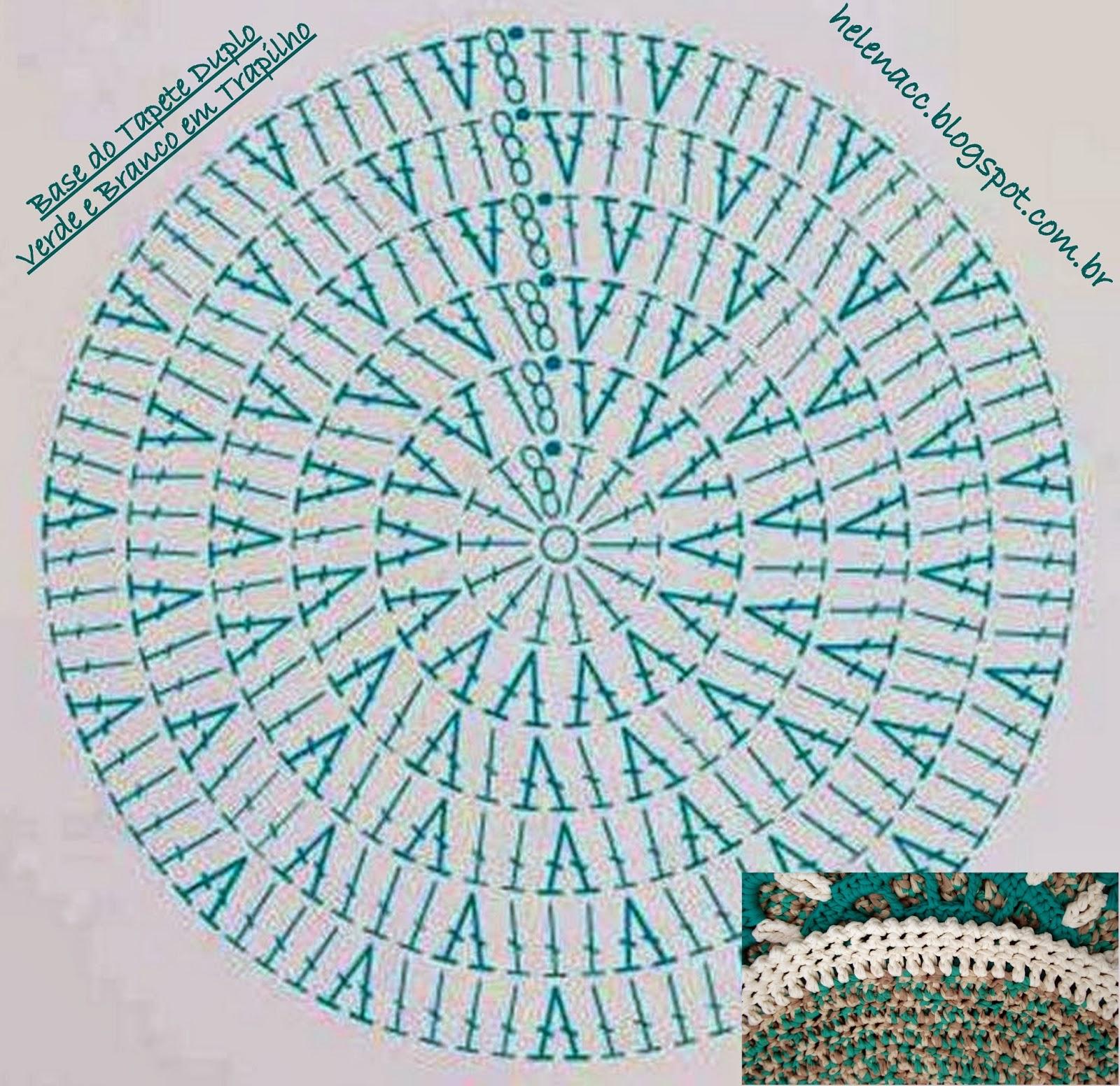 Круглый коврик крючком схема