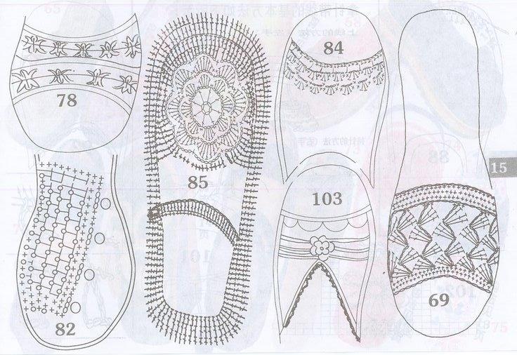 Схемы вязания крючком босоножек