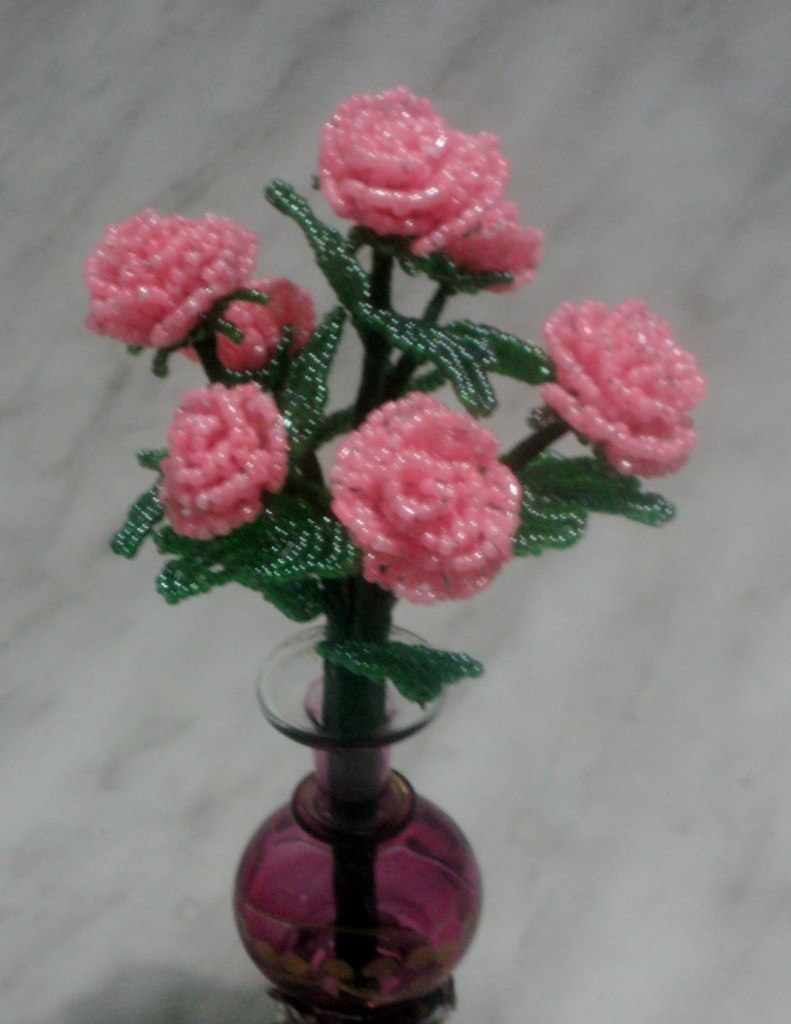 Розовый куст из бисера мастер класс с пошаговым фото