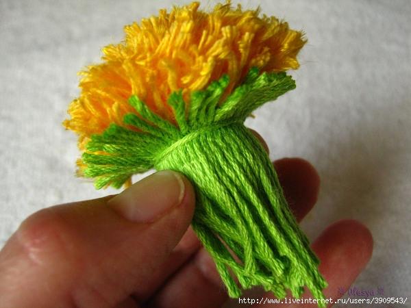 Цветок из пряжи своими руками фото