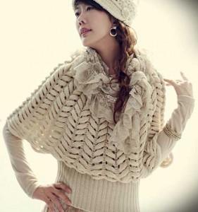 Невероятно красивый пуловер с узором колосок