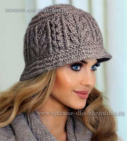 Женская шляпка спицами.
