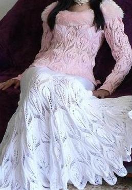Для Вас, стройняшки- Белая вязаная юбка спицами с листочками , 3 серия.