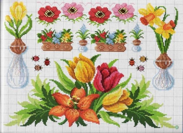 Вышивка, схемы - цветы и др.