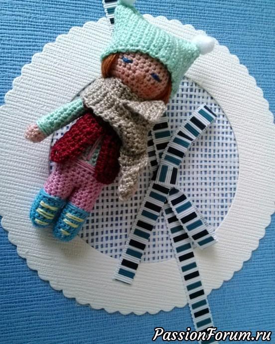 Малышка в шапочке, амигуруми, кукла связаная крючком, миниатюра