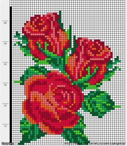 Схемы вышивки розы простые