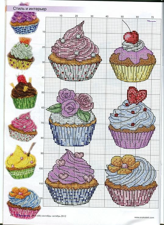 Схема вышивок пирожное