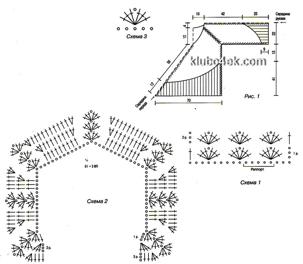Схема вязания пончо крючком с рукавами