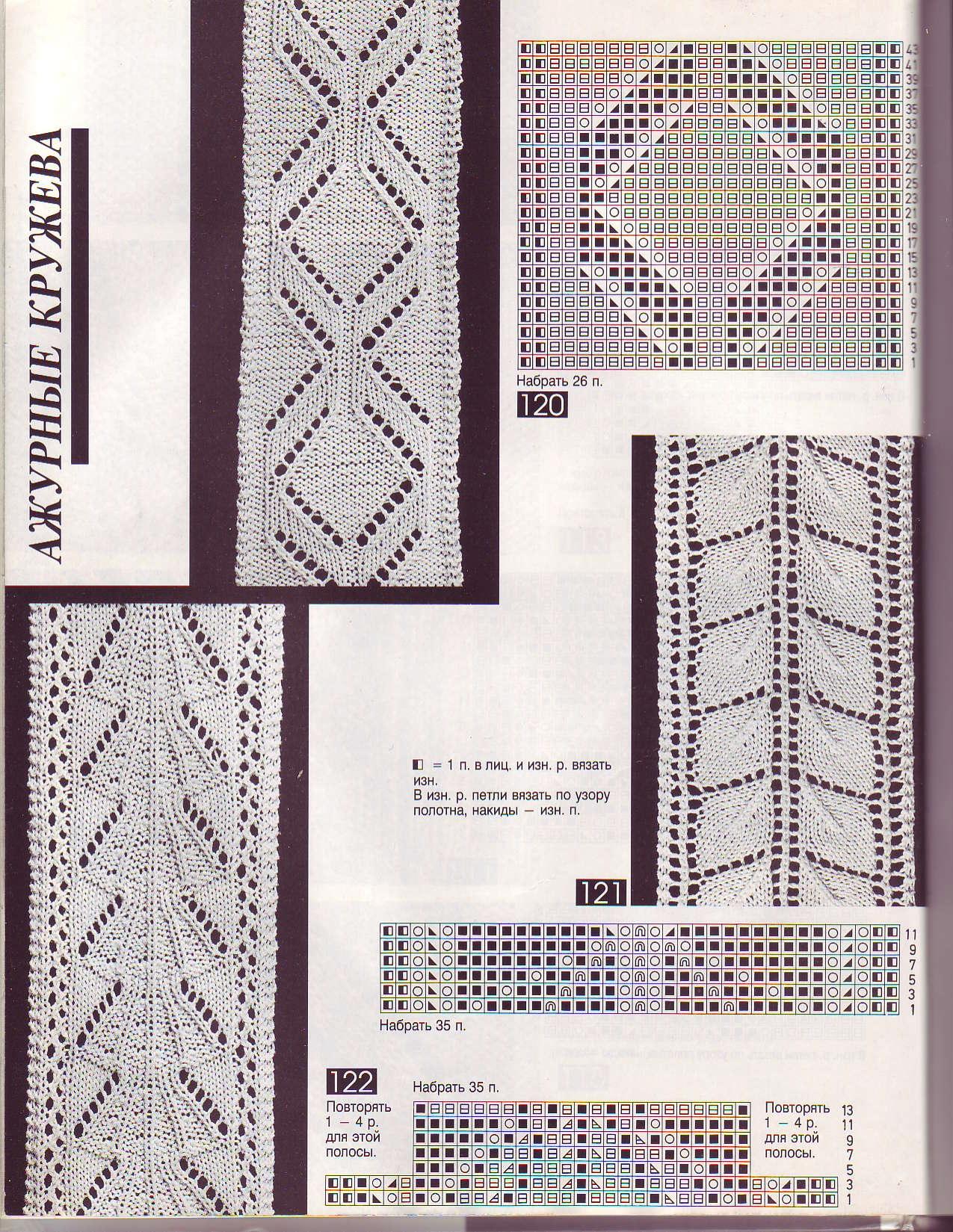 Вязание спицами кружева схемы