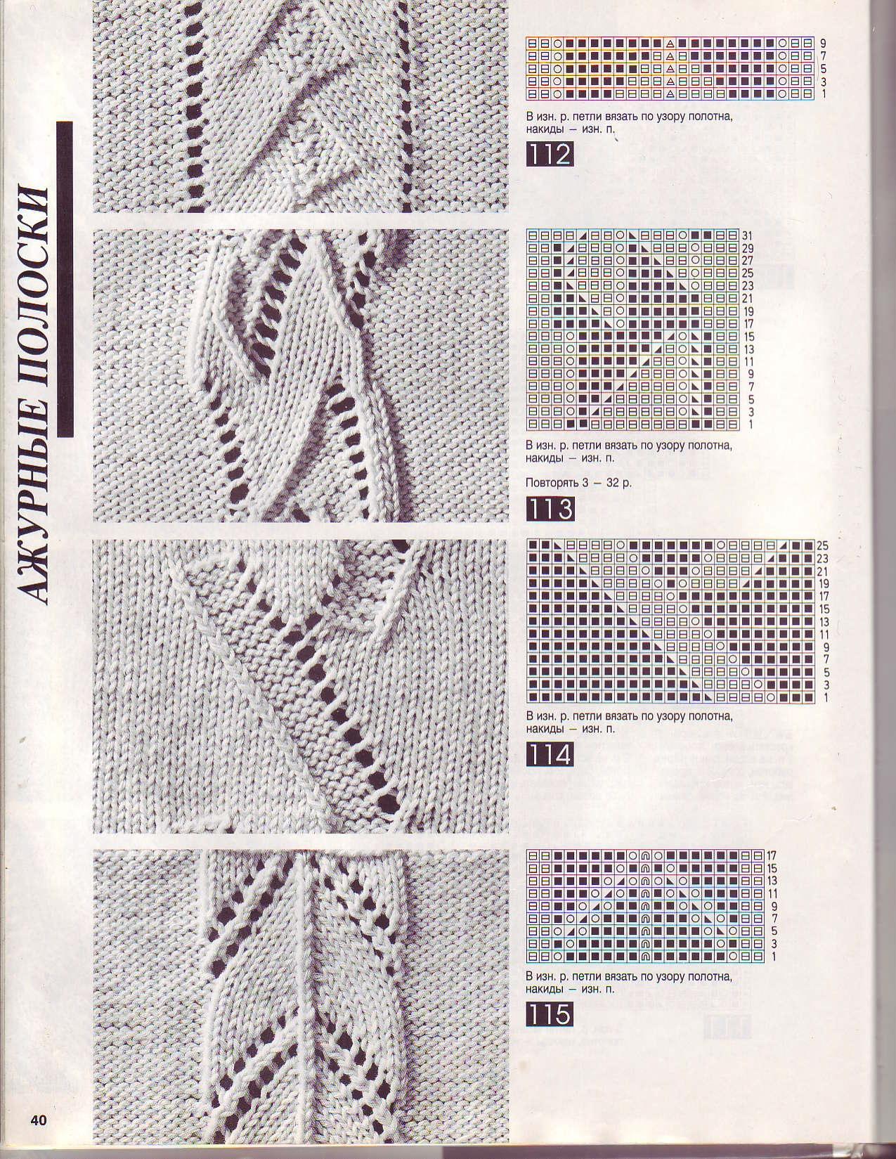 Вязание орнамента на 5 спицах