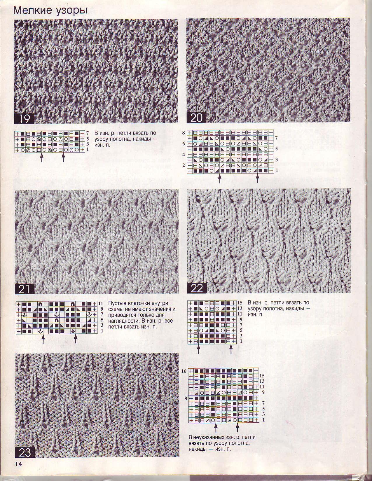 Мелкие узоры спицами схемы