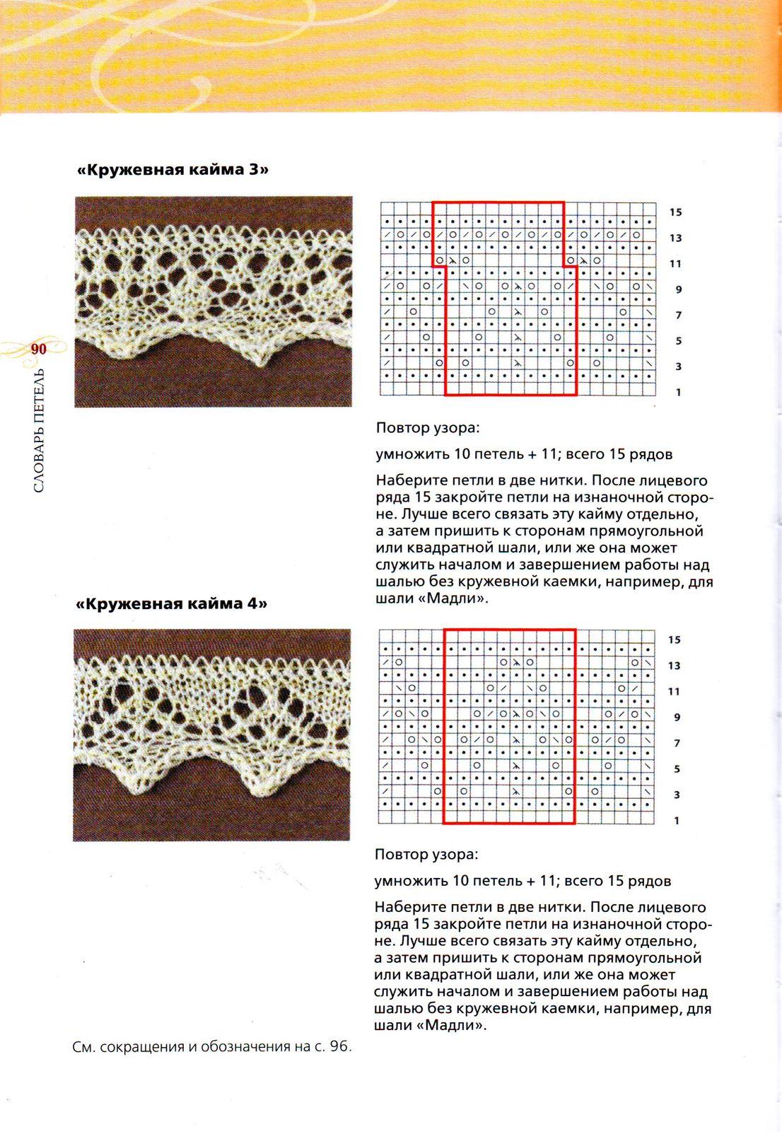 Вязание шалей с каймой-схемы