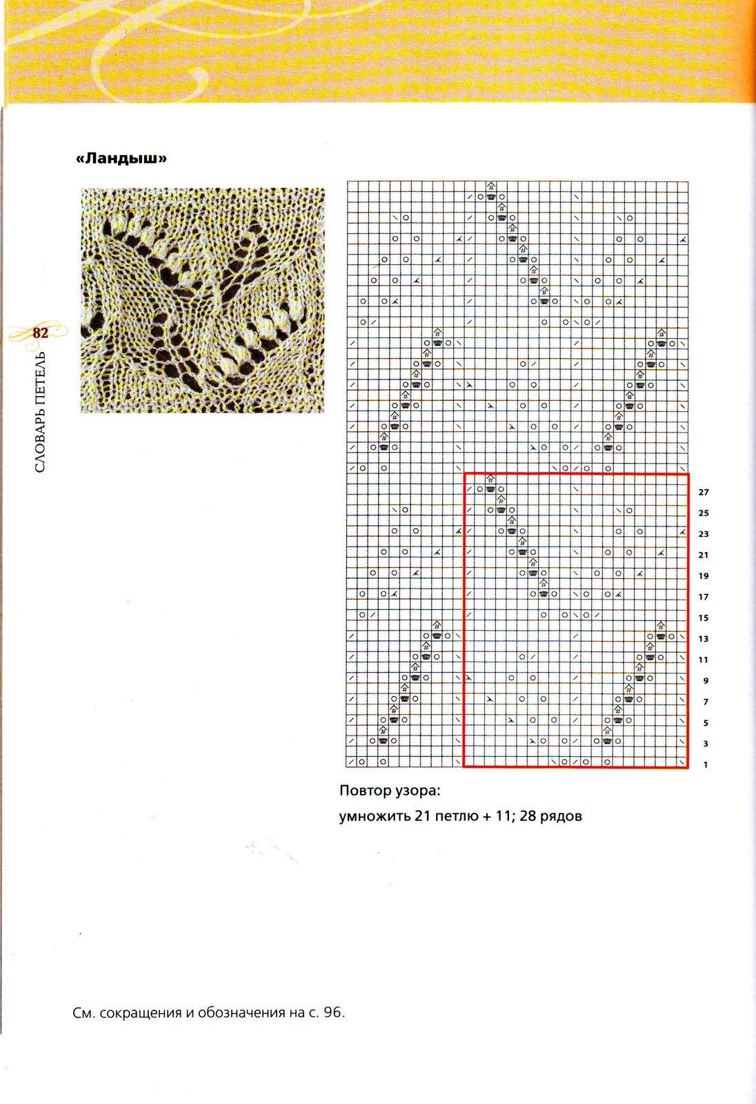 Красивый ажурный узор для вязания спицами Ландыши 91