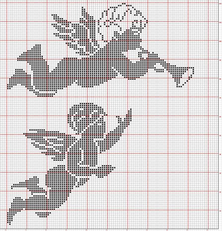 Схема вышивки монохром ангел