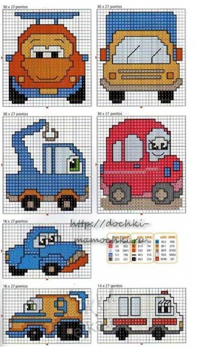 Схема вышивки детских машинок