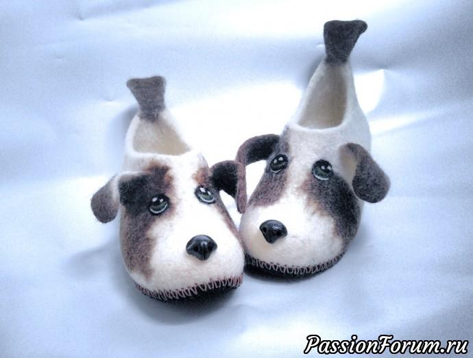 Тапочки собачки!, тапочки, валяние, мокрое валяние, шерсть 100%, шерсть, совместное валяние, собачки, детские тапочки