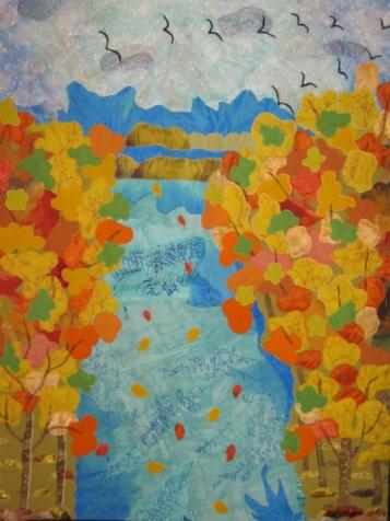 "Картина из лоскутков материи  "" Иснова осень..."""