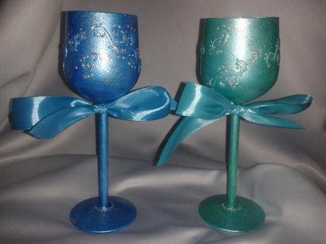 Новогодние подсвечники из ненужных бокалов для вина (вариант № 3)