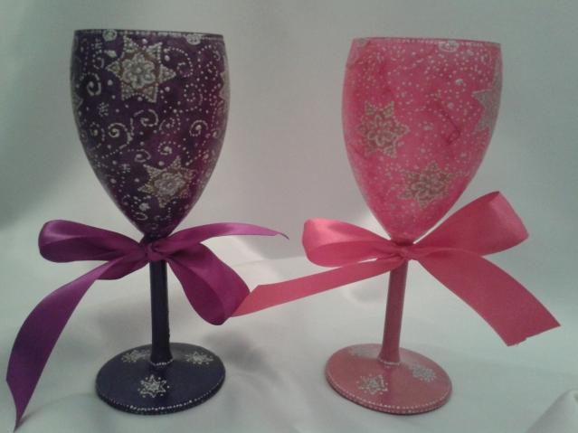 Новогодние подсвечники из ненужных бокалов для вина (мой декупаж)