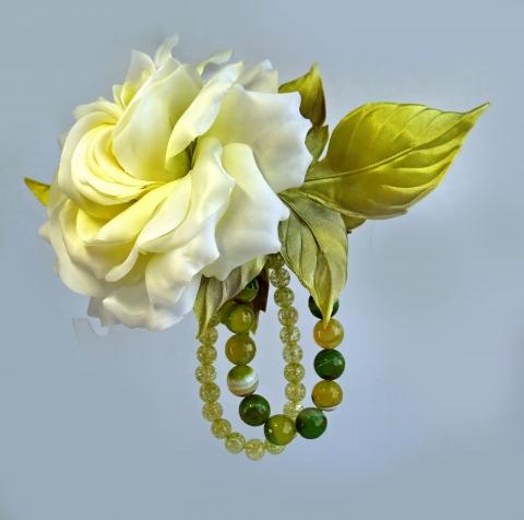 Брошь-роза Белый мастер