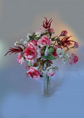 Букет Розовое настроение из цветов по МК школы Tanjobana