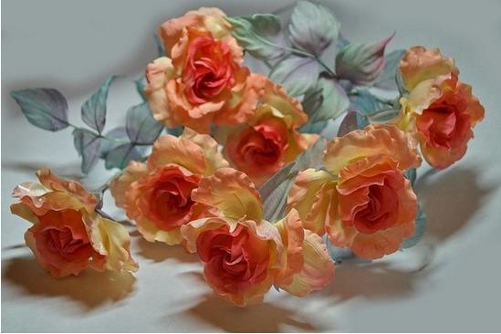 Розы из букета Сны в розовом саду по мк Юлии Нагай
