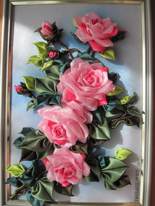 Картины из цветов из атласных лент фото 71