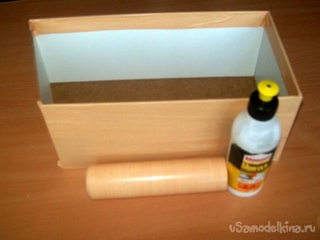 |     Собираем одну коробочку.     Обклеиваем с внешней стороны самоклеющейся плёнкой, а кисточкой изнутри, промазываем все швы клеем «Момент».
