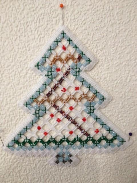 Наша елка высока..., вышивка, хардангер, новый год, елка