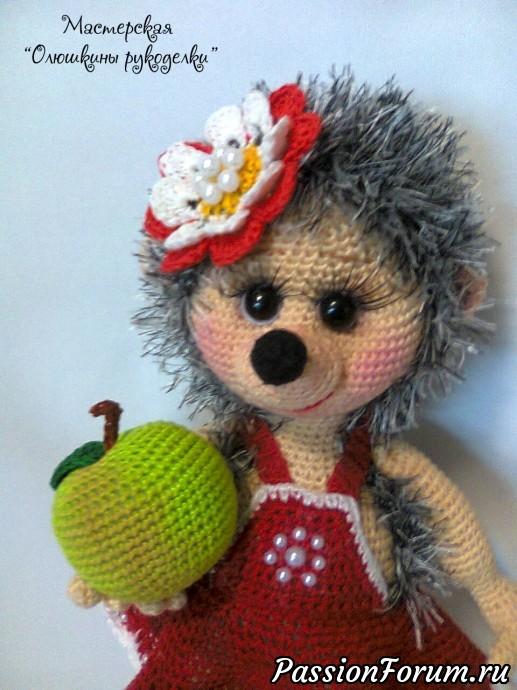 Девочка Ёжка, вязаная игрушка, сувенир, ёжик, подарок