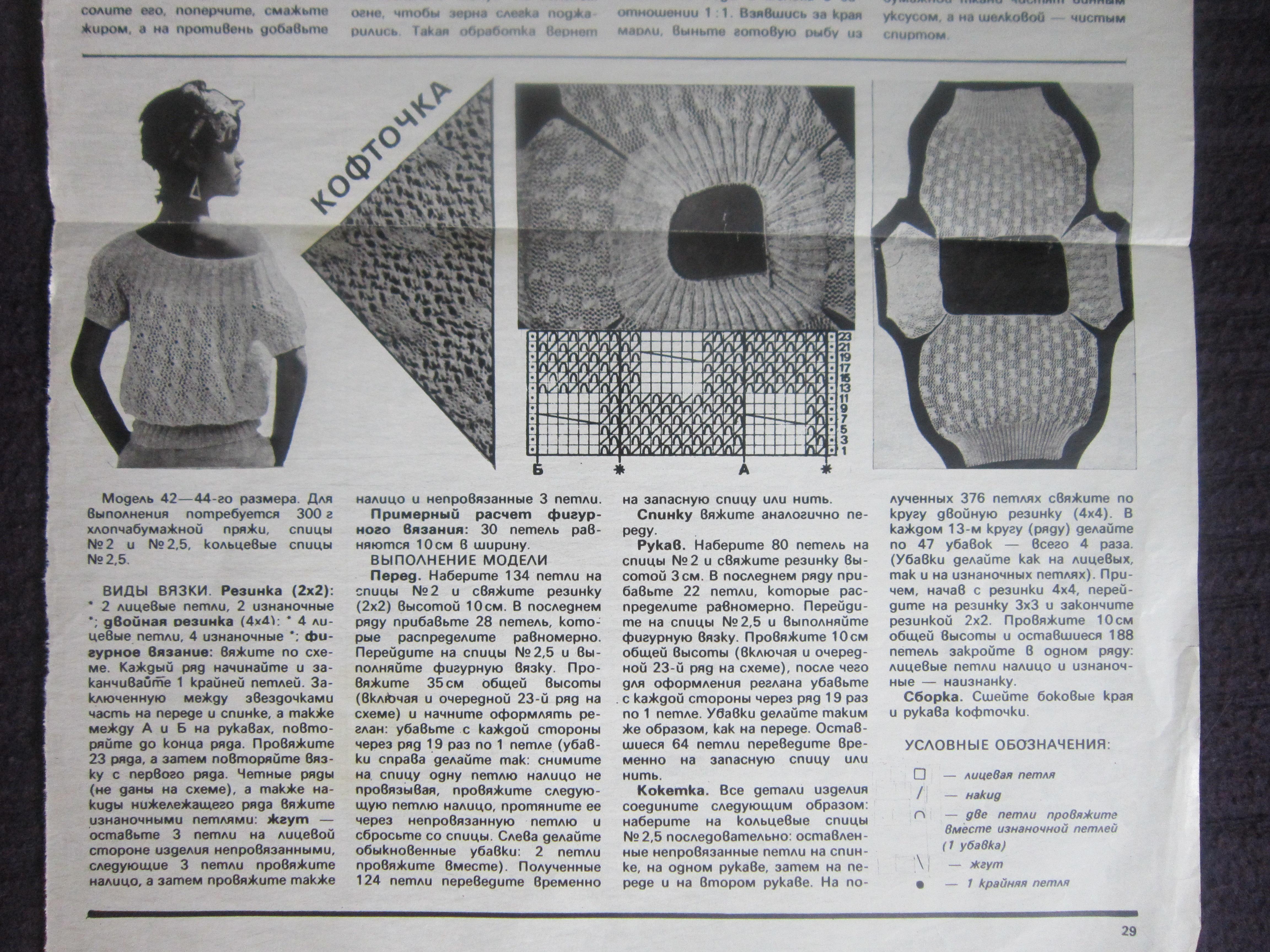 схемы из старых журналов салфетки спицами