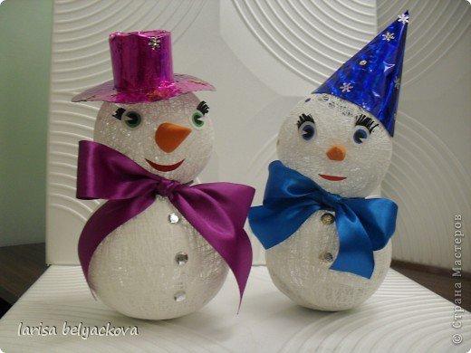 Новогодние поделки снеговик из ниток своими руками