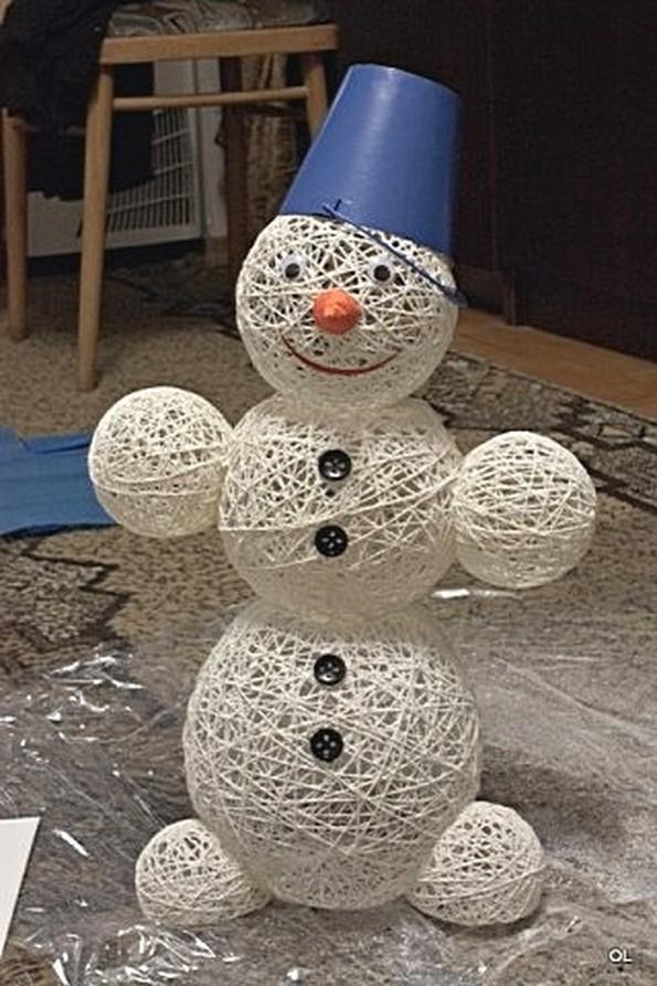 Как сделать снеговика из ниток и