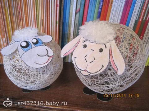 Поделка на шарике и нитками