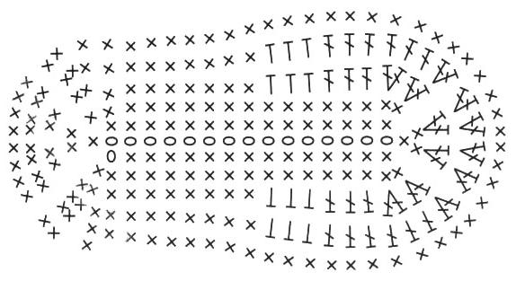 Схемы для вязания крючком подошвы для пинеток