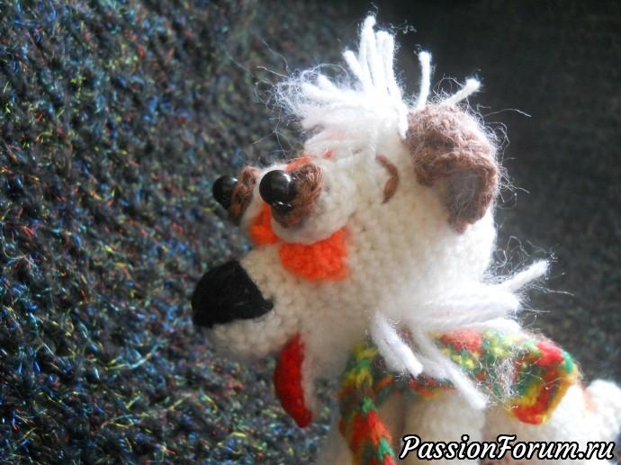 Собачка амигурами крючком., игрушки крючком