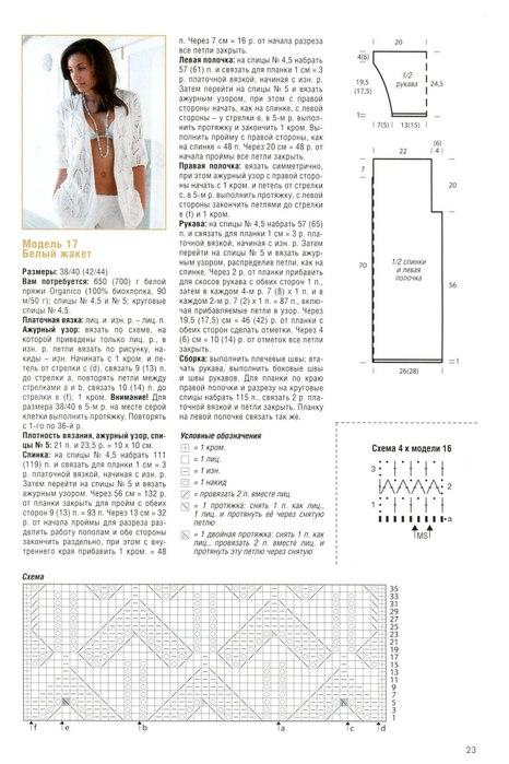 Вязание модели ажурных жакетов спицами