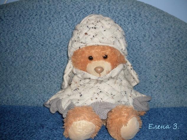 Зимний комплект (шапочка с ушками и манишка)