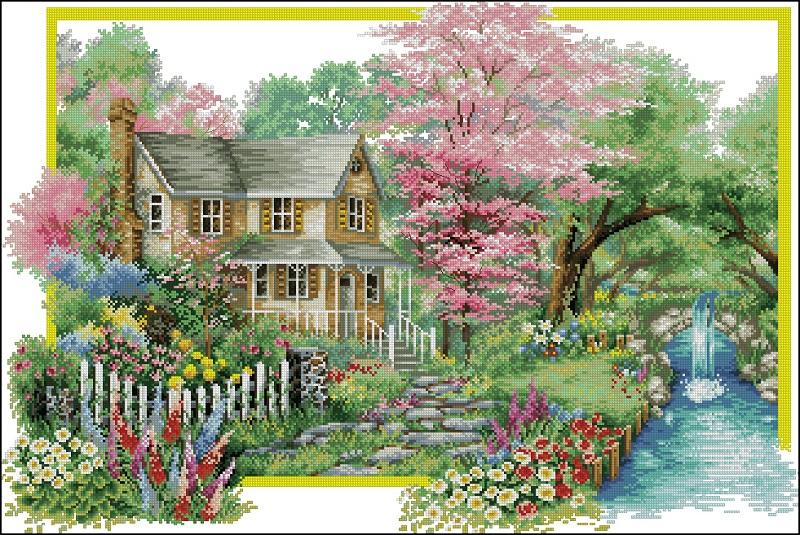 Вышивка дом весна